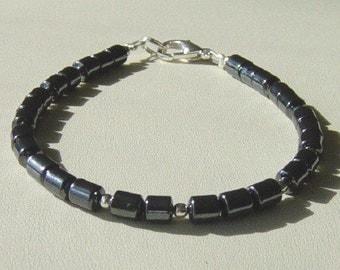 Hematite with Silver Bead Bracelet