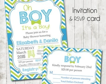 Oh Boy Baby Shower Invites AND Rsvp cards