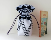 Draw string bag, kinchaku,Japanese,cotton, border,rope,marine, yukata,navy, white,men's gift, geometrical