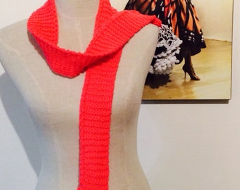 Coral pink, white and black crochet Flamenco Scarf or Belt!