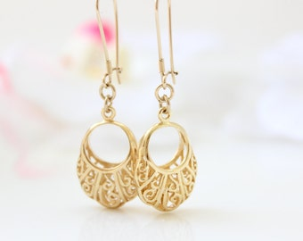 Gold earrings - Oriental gold filigree earrings, Gold jewelry, Gift for her