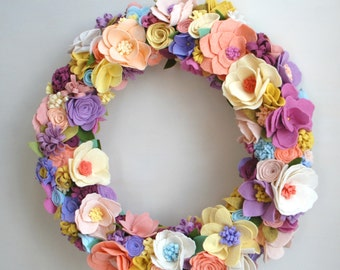 Lush Spring Wreath, Easter Wreath with Pastel Felt Flowers, Made to Order