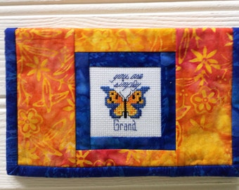 Batik Kindle cover, sleeve, pouch with butterfly cross stitch embroidery