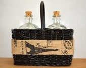 Paris Themed Basket with Glass Bottles