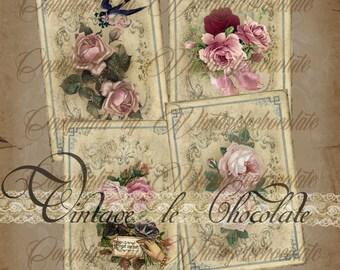Digital Scrapbook Paper, Digital Vintage Printable Paper, Romantic Vintage Shabby Rose Background Paper, Collage Scrapbook Supplies, No. 800