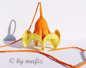 Felt flower in yellow, decoration for the home, decoration for the window flower with long belt