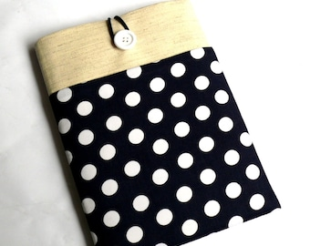 "12 to 13"" Laptop Sleeve, 12 inch MacBook Case, 13 inch MacBook Sleeve, iPad PRO Case- SUPERIOR Shock Absorbent Foam Padding - Navy Polka Dot"