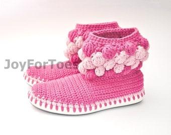 Crochet Women Boots Slippers for the Street Rose Romantic Custom Made