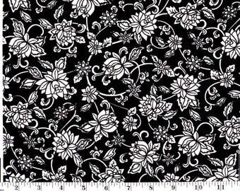 1 Yard, White Flowers on Black Cotton
