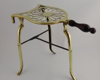 SALE - Antique English Brass Trivet, Ca 1850