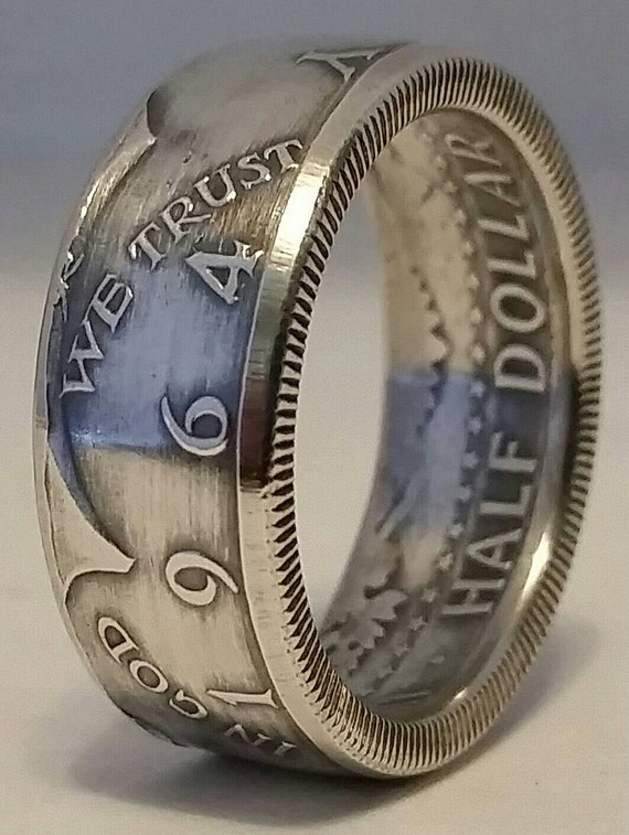 ring made from Silver 1964 Kennedy half dollars size 8-14