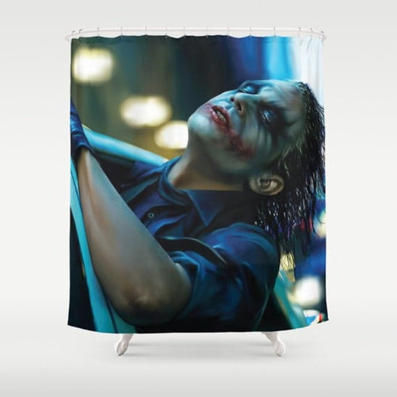 Shower Curtain Joker Heath Ledger Movie Art Blue Art Curtain