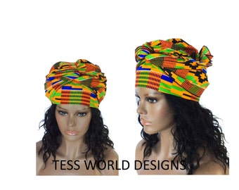 Ready made Kente African Head wraps Scarf/ African head wraps for women/ African head wraps for men/ African Head scarf/ HT56