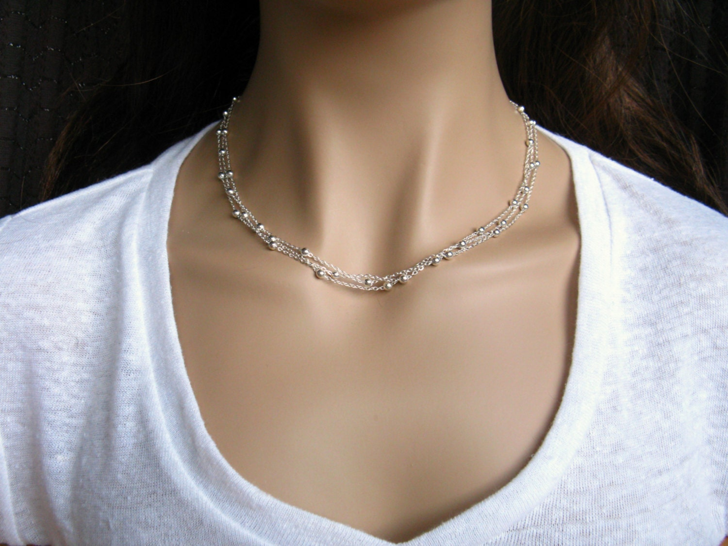layered silver chain necklace silver beaded necklace
