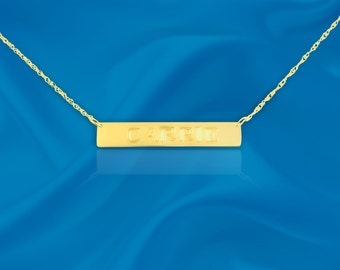 Name Bar - 24K gold plated sterling silver - Personalized with your name of choice - Hand Engraved Tag Necklace - Name Tag - Made in USA