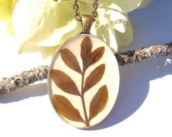 Real Pressed  Leaf Vine Oval Bronze Pendant Necklace