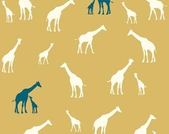SALE Giraffe Fam in Sun by Jay-Cyn Designs for Birch Fabrics 1/2 Yard Serengeti Birch Organic Organic Cotton  Yellow Teal Giraffes