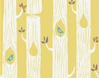 Knit Tree Stripes Circa 52 in Sun by Monaluna for Birch Fabrics - 1/2 Yard - Woodland Fabric - Birch Organic - Organic Cotton - Trees Yellow