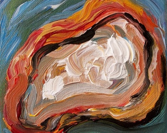Oyster Shell painting beach house decor original abstract painting impresssionist art painting