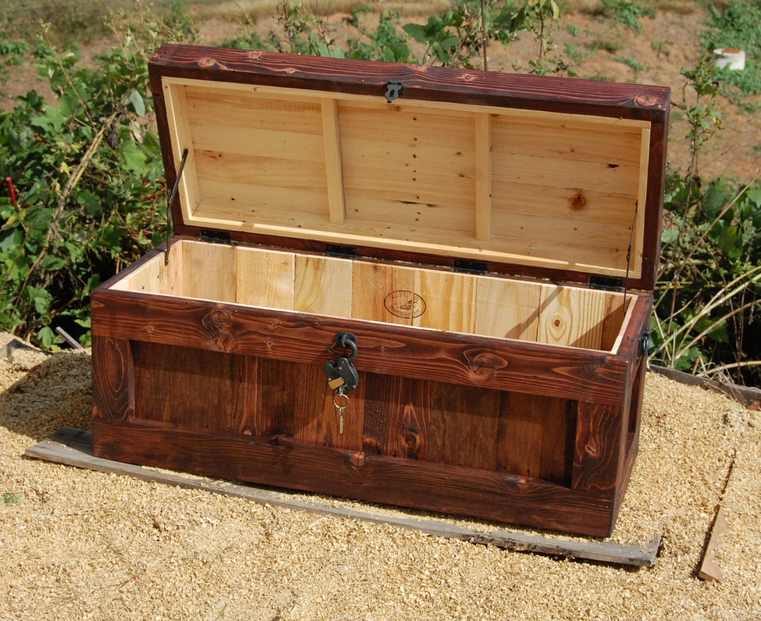 Chest with lock hope wooden trunk coffee table