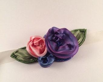 OOAK-flower girl- sash-shibori ribbon-silk-accessory-hair ribbon