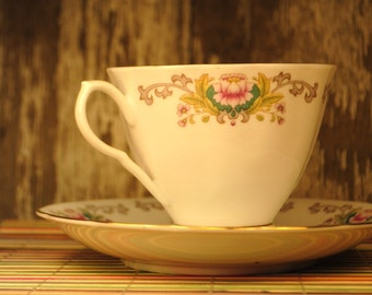 Peoney pink teacup tea cup vintage great details Tea cup and saucer for a lovely afternoon tea  pink gold green grey unusual makers mark