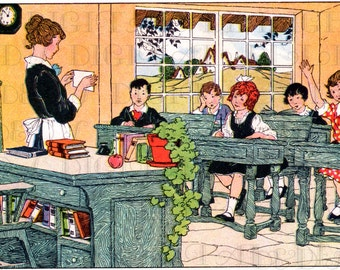 Teacher And Her Class Vintage Illustration. Vintage Teacher Digital Download. Digital Vintage Childfen Illustration Download.