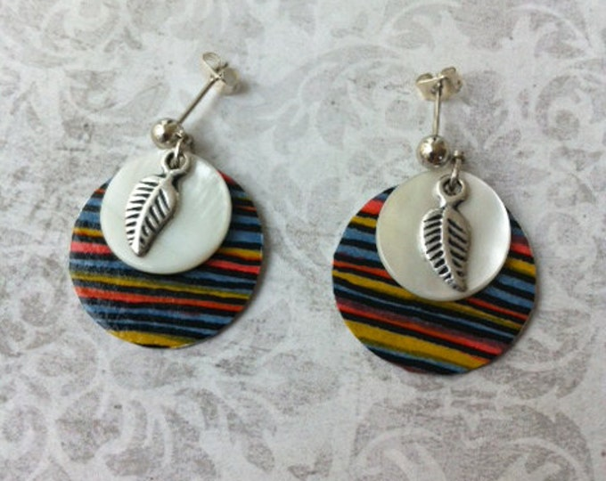 Boho stud Earrings -stripes paper earrings -mother of pearl -circle earrings -gift for her -feather charm -drop and dangle -summer earrings