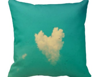 Throw Pillow Case, Love is in the Air by RDelean - Photography, Home Decor, Aqua sky, Heart shaped Clouds,