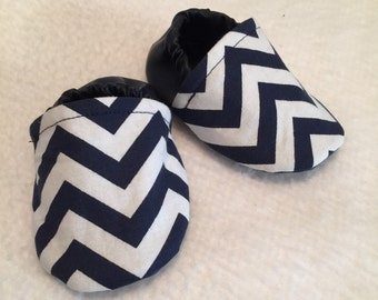 Navy Chevron with Navy Leather Shoes - Choose a size