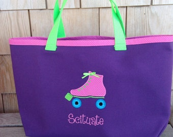Kids Personalized Purple Canvas Tote with Roller Skate Design