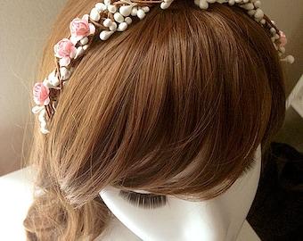 DARKWHISPER Couture Wedding Season Handmade Pink Flower & Buds Spring Hair accessory