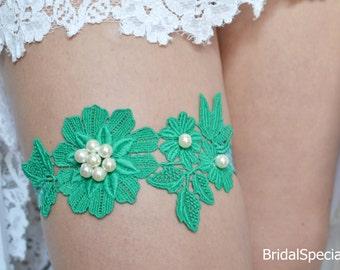 Lace Wedding Garter, Wedding Garter Set, Green Lace Garter, Wedding Garters, Handmade Garter, Bridal Garter Set, Ivory Bridal Garter, Garter