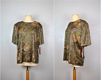 NWT Animal Print Casablanca Top, NWT Cheetah Casablanca Cheetah Blouse, Vintage Top