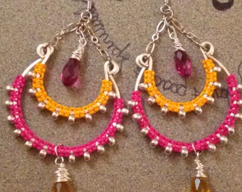 SALE Orange and Fuschia Chandelier Earrings/Macrame Tribal Earrings/Goddess Adornment/Handmade by Kaunablue/ Free Shipping within the USA