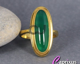 Handcrafted Designer 24K Yellow Gold Over 925K Sterling Silver Natural Cabochon Green Carnelian Agate Solitaire Ring - Turkish Jewelry