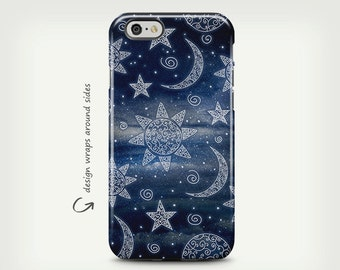 Stars and Moon, iPhone 7 Case, iPhone 6 Case, Night Sky, iPhone SE Case, Space, Tough Case, Samsung Galaxy Case, Galaxy S8 Plus Case