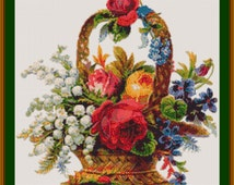 Victorian Berlin Woolwork Cross Stitch Needlepoint Pattern Floral Bouquet in Basket from Antique German Scrap