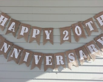 Happy 20th Anniversary banner. Burlap banner. Made by a stay at home veteran.