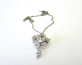 Crystal Pendant Brooch Chain Necklace Silver Tone