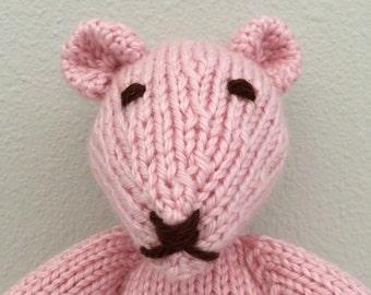 Knitted Teddy Bear - Stuffed Animal - Soft Toy - Teddy Bear - Stuffed Toy - Pink Teddy Bear - Baby Boy - photo prop