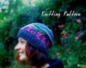 Cozy Cabin Cap, Woodland Knitted Hat Pattern, Hat Knitting Pattern, Women's Slouch Hat, Beanie Pattern, DIY Knit Hat Pattern, Striped Hat