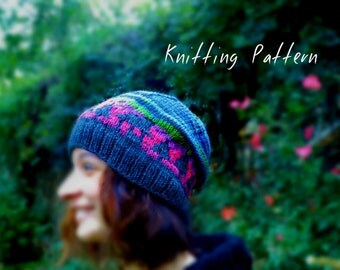 Woodland Knitted Hat Pattern, Hat Knitting Pattern, Women's Slouch Hat, Cozy Cabin Cap, Beanie Pattern, DIY Knit Hat Pattern, Striped Hat