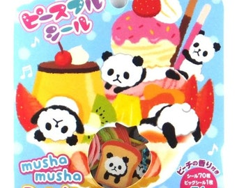 Japan Mind Wave kawaii Musha Musha PANDA 71pcs stickers flake
