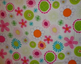 White Flowered Flannel Fabric by the Yard