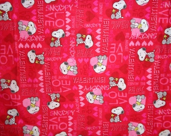 Red Snoopy/Woodstock Valentine Cotton Fabric By the Half Yard