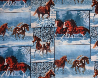 Blue Blocked Horse Fabric