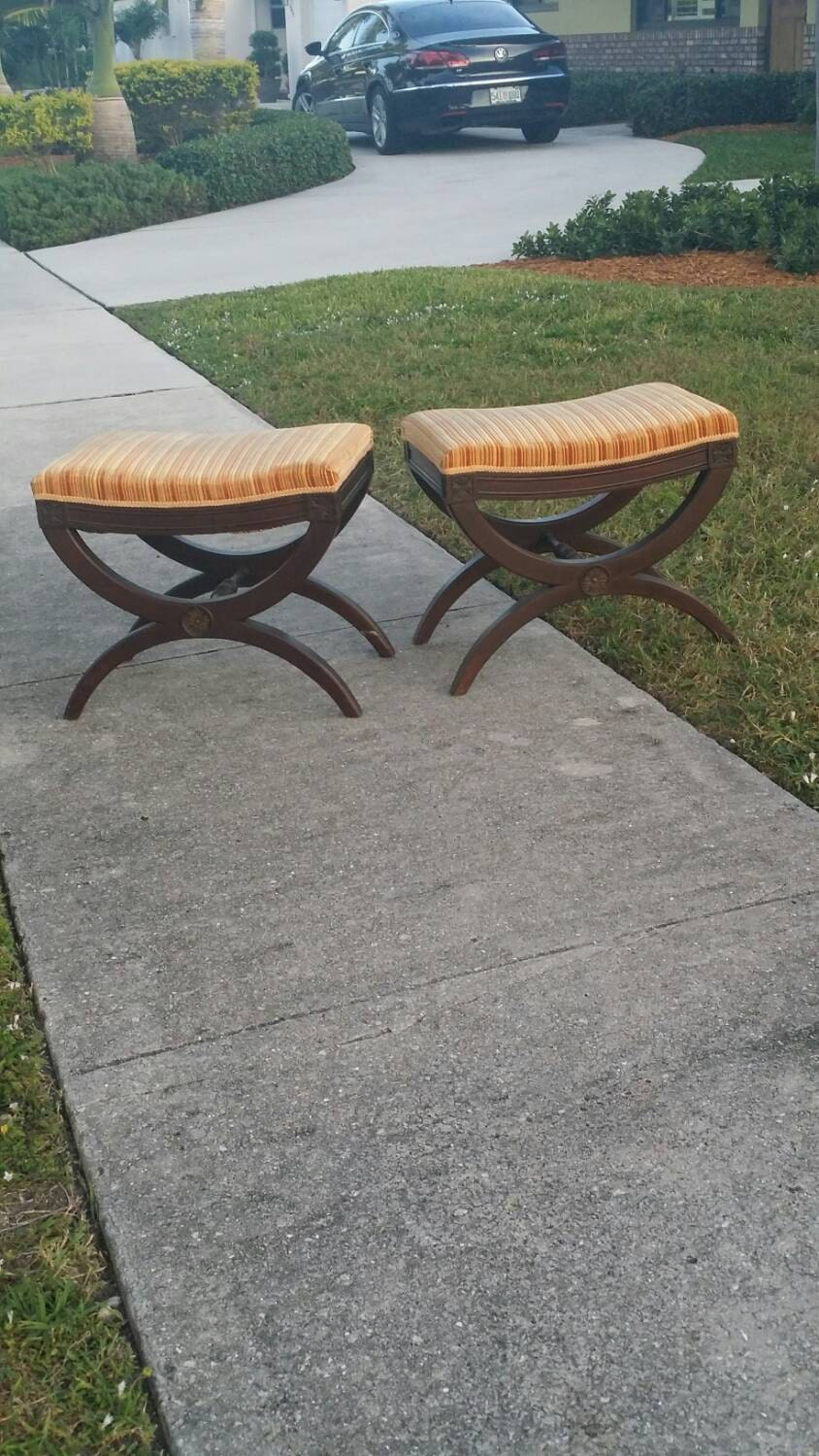 Pair Bed Stools: Vintage PAIR X Benches Stools Ottomans End Of Bed Palm