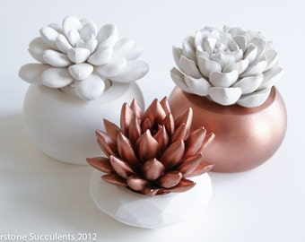 Sale: Copper Succulent Set Gift Faux Plant Indoor Plant Geometric Art Object Sculpture Desktop Modern Minimalist Home Office Decor Unique