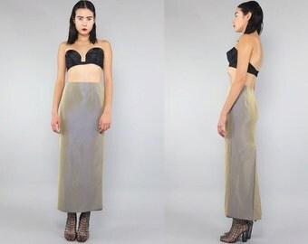 Vtg 80s Gold Iridescent Minimal Pockets Maxi Skirt Gown S M